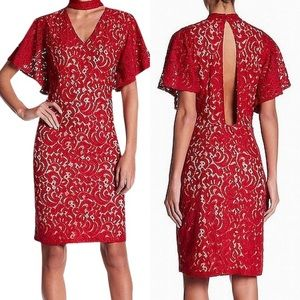 Alexia Admor  red Choker Embroidered Lace Dress